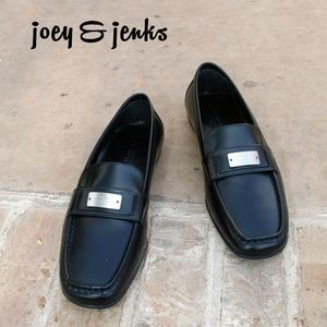 Coach Lora Black Leather Loafers Logo Accent 8.5